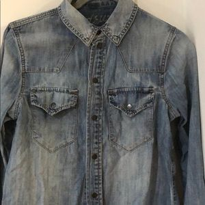 Madewell button down shirt western chambray denim
